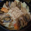 ルクルーゼで海鮮塩チゲと銀杏だけ茶碗蒸し