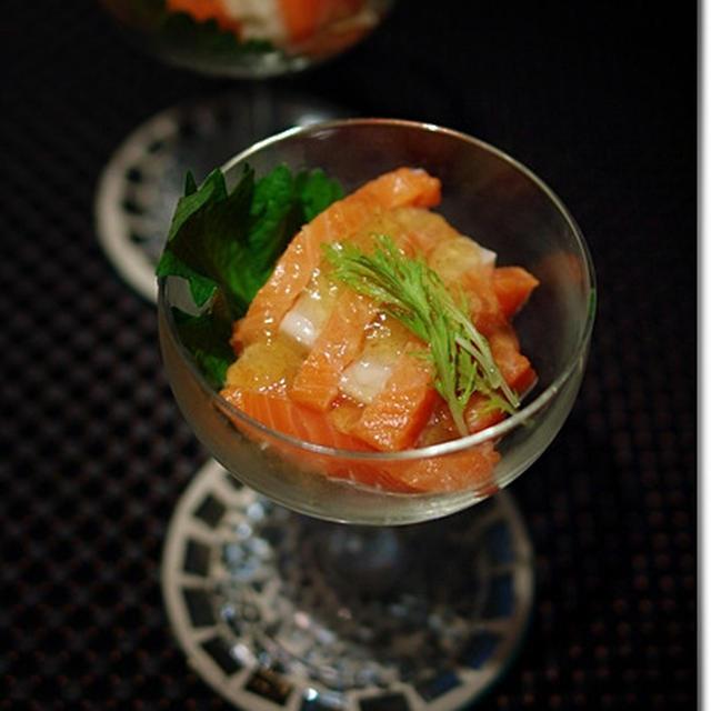 鮭と生麩 のっけてポン酢ジュレ