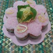 雛まつりに\(^o^)/お寿司のケーキ♡(=^・^=)♪