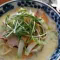 白菜とベーコンのスープパスタ