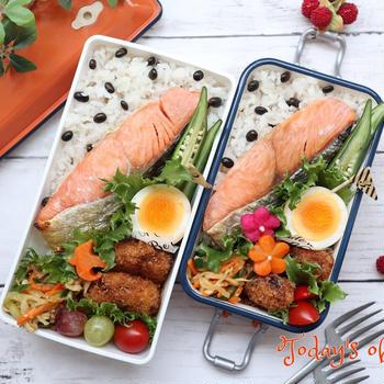 鮭と黒豆ごはんのお弁当♪5月のお弁当アルバム