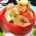 トマトの器でモッツァレラチーズとタコと生ハムのカプレーゼ