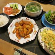 レンコン黒酢鶏の晩ご飯 と 葉っぱクルクルの「フリズルシズル」の花♪