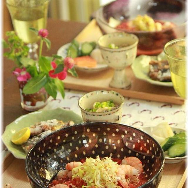 海老とトマトの冷やし中華。 の お昼ごはん。