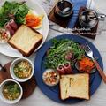 朝からパワーがみなぎってくる♡サラダプレートとふんわりたまごの野菜スープ♡