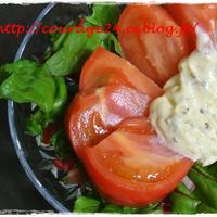 スパイシーマヨネーズでスイスチャードとトマトの簡単サラダと頑張った雑草抜き♪