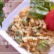 丸ごとトマトと空豆のペペロンチーノ♪スパイスパスタ