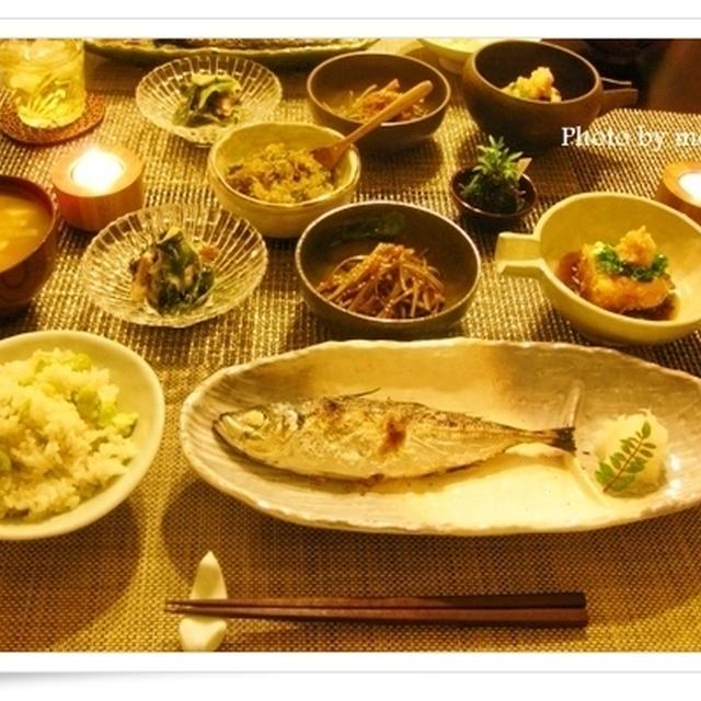 そら豆ごはん、豆腐の土佐揚げ、烏賊とわかめのねぎぬた他~やさしい夕食