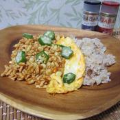 ふわふわ卵とトウモロコシのキーマカレー
