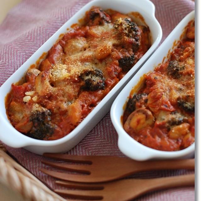 ブロッコリーとお豆のトマトクリームグラタン