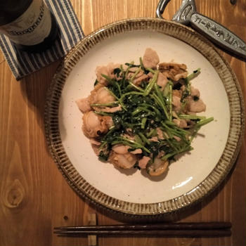 ホタテと豚バラのパクチー炒め