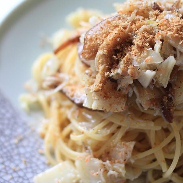 カルシウムたっぷり!レシピ「海老ちりめんと白菜と干し椎茸の和風パスタ」♪