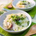 お月見用の団子 と 薩摩芋と白菜漬のクリーム煮