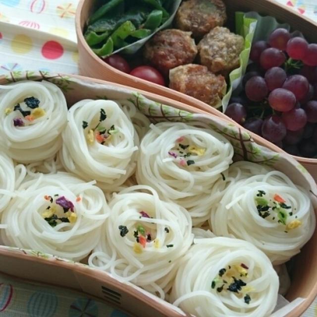 華わかめ素麺と揚げシューマイ弁当