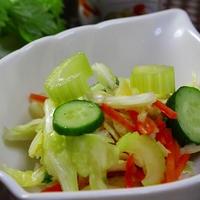 燻製風味の簡単セロリと野菜のサラダ漬け