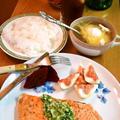 サーモンのステーキ ~ ディル&ホースラディッシュのソースで♪