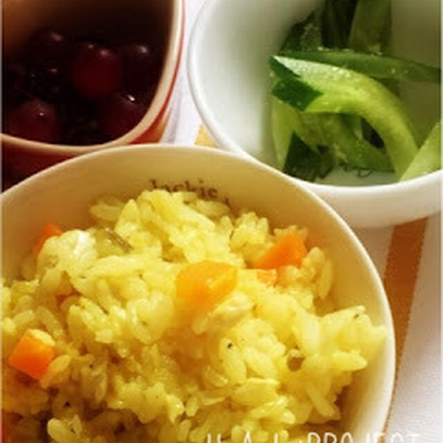 264日目-3 ご飯+しいら20g+野菜のブイヨン煮60g+カレーの王子さま顆粒+粉ミルク(ミルフィー)+粉チーズ+きゅうりの胡麻甘酢和え+デラウェア+豆乳ヨーグルト