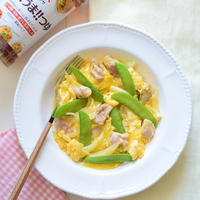 【ネクストフーディスト】鶏肉と絹さやの卵とじ♡ヤマサぱぱっとちゃんと『これ!うま!!つゆ』