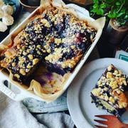 今年も食べたよ❤️と、しっとりザクザクたまらない❤️贅沢ブルーベリークランブルケーキ♪