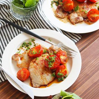 【レシピ】豚肉のミニトマトソースソテー。