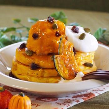 かぼちゃとレーズンのホットケーキ