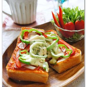 濃厚がっつり朝食!簡単「ピザトースト」でおうちカフェ気分♪