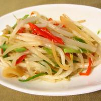 ★もやしとインゲンの生姜入りピリ辛炒め(숙주나물)