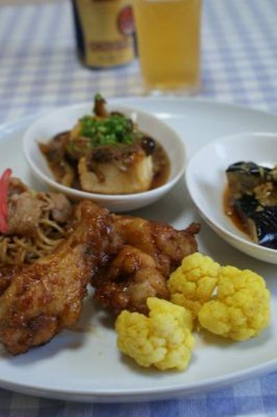 昨日の晩御飯 (ウィスキーチキン、豆腐のきのこあんかけ他)