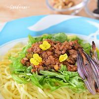トムヤム風味のジャージャー麺♪-菜の花を添えて-