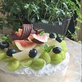 ノンオイルスポンジ台で季節のフルーツをたっぷり取り入れてデコレーションケーキ~♪♪