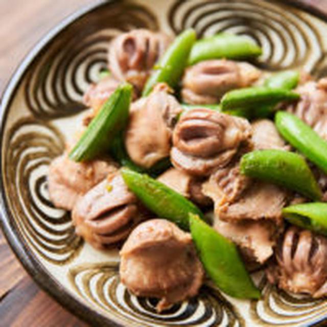 【糖質控えめレシピ】砂肝とスナップえんどう炒め