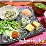 和風ワンプレート朝食♪きゅうりとカニカマのごまマヨ和え
