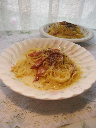 カルボナーラと朝食