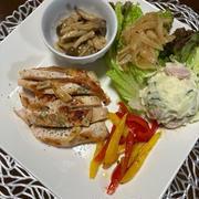 「塩糖水」漬け鶏胸肉のガーリックソテー