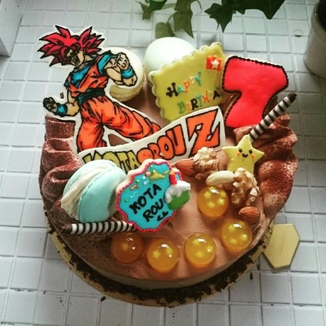 【オーダー】ドラゴンボール♪スーパーサイヤ人ゴットの生チョコケーキ♪