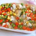 【簡単!作り置き】鶏もも肉とミックスベジタブルのアッサリ煮&使いまわし例2品♪