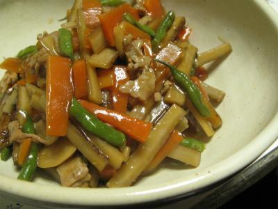 新ごぼうと豚肉のサッと煮あんかけ(レシピ)