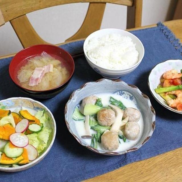 鶏団子とチンゲン菜のクリーム煮とエビとセロリのイタリア炒めでうちごはん(レシピ付)