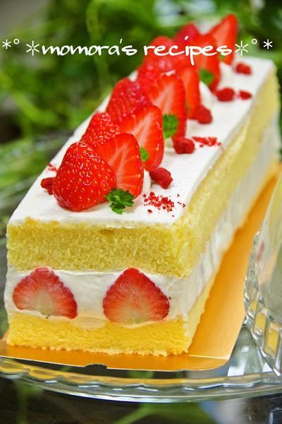 ホットケーキミックスHMで簡単お菓子♡苺のショートケーキ フレジェ風♪クリスマスケーキにも