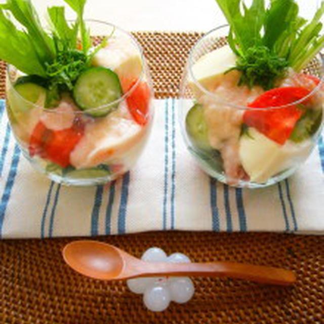 レシピ 梅とろろドレッシングの豆腐サラダ