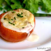 トマトでおめかし☆アボカドとおもちの豆乳米粉グラタン