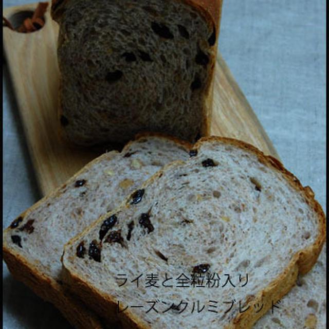 ライ麦、全粒粉入りレーズンクルミ食パン☆サフ+ホシノ