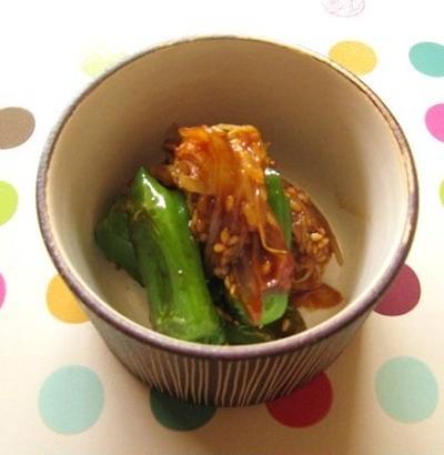 ミョウガとししとうの韓国味噌炒め