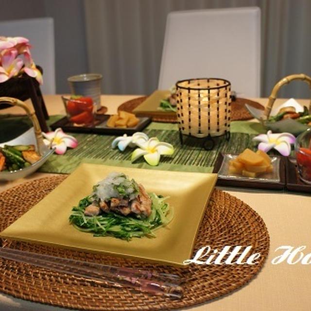 カリカリ豚と水菜・大根おろしサラダとアスパラWEEK