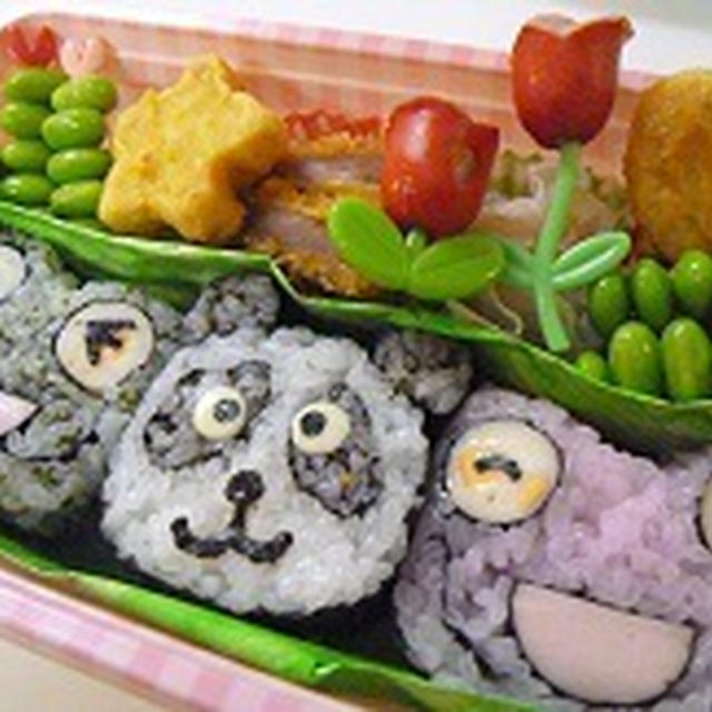 飾り巻き寿司カエル・パンダ弁当  6月レッスンカエル