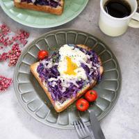 乗っけて焼くだけ♡なのにオシャレな朝ごはん♪【紫キャベツの巣ごもり卵トースト】#自炊 #トースト #カフェ飯 #朝ごはん #時短レシピ