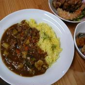 ひき肉カレー&ターメリックライス