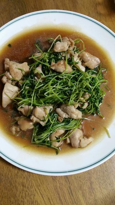 豆苗と鶏肉の炒め物^^
