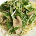 水菜と鶏胸肉の冷製パスタ!楽チン編!