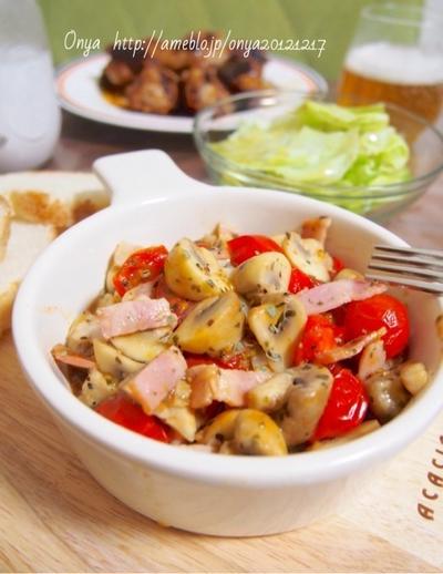 フライパンで10分♪ささっとおつまみ!ベーコン・マッシュルームとトマトのぺペロン炒め♪